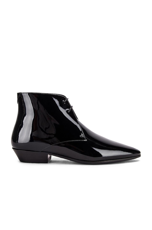 Image 1 of Saint Laurent Jonas Lace Up Patent Booties in Black