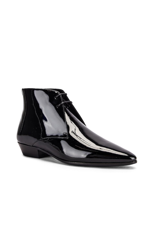 Image 2 of Saint Laurent Jonas Lace Up Patent Booties in Black