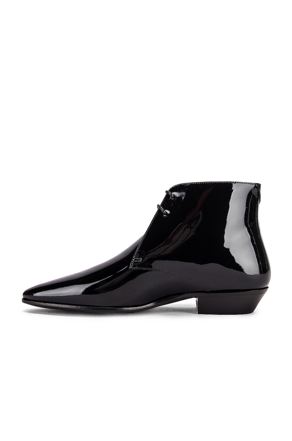 Image 5 of Saint Laurent Jonas Lace Up Patent Booties in Black