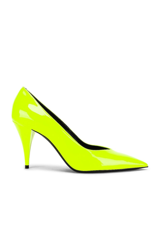 Image 1 of Saint Laurent Kiki Patent Pumps in Fluo Yellow