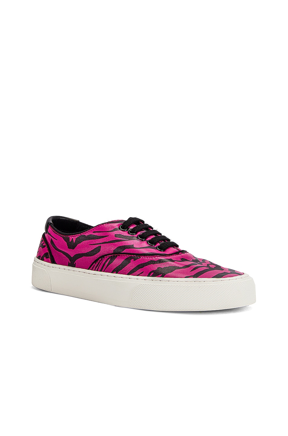 Image 2 of Saint Laurent Low Top Venice Sneakers in Fuchsia & Black