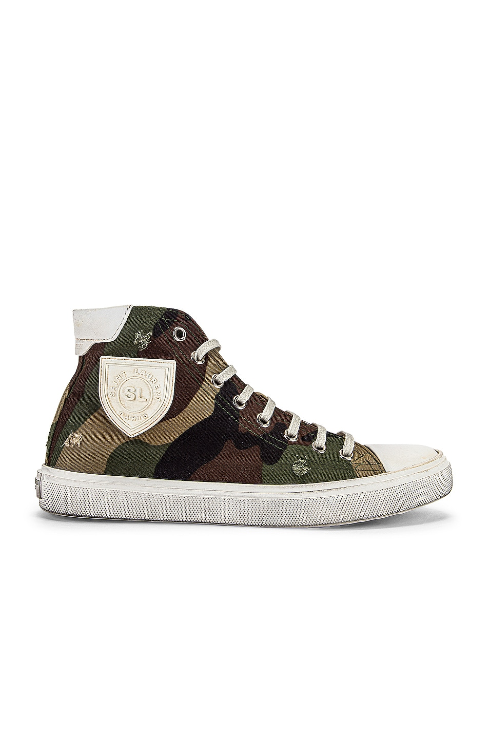 Image 1 of Saint Laurent Bedford Patch Sneakers in Khaki