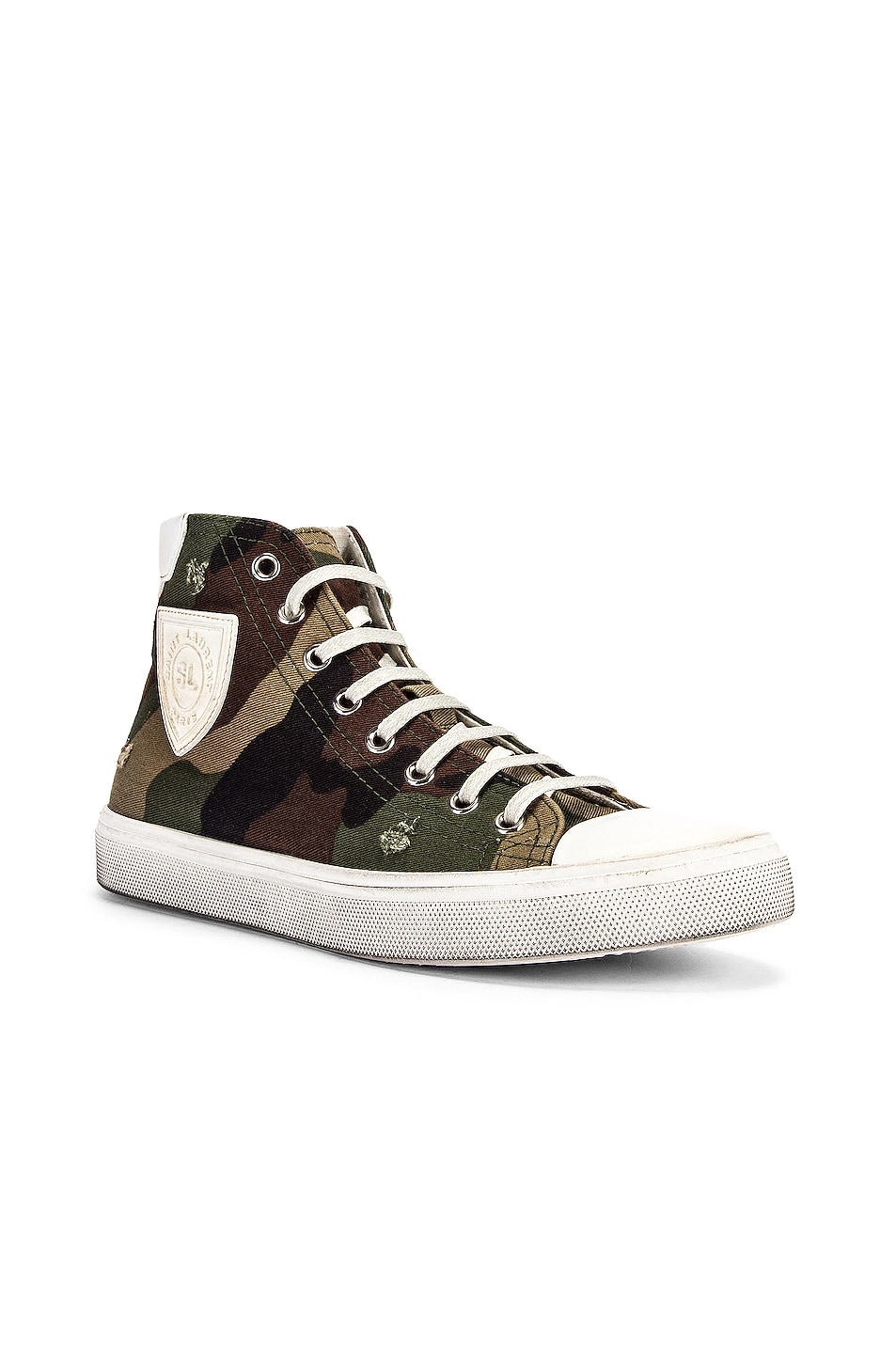 Image 2 of Saint Laurent Bedford Patch Sneakers in Khaki