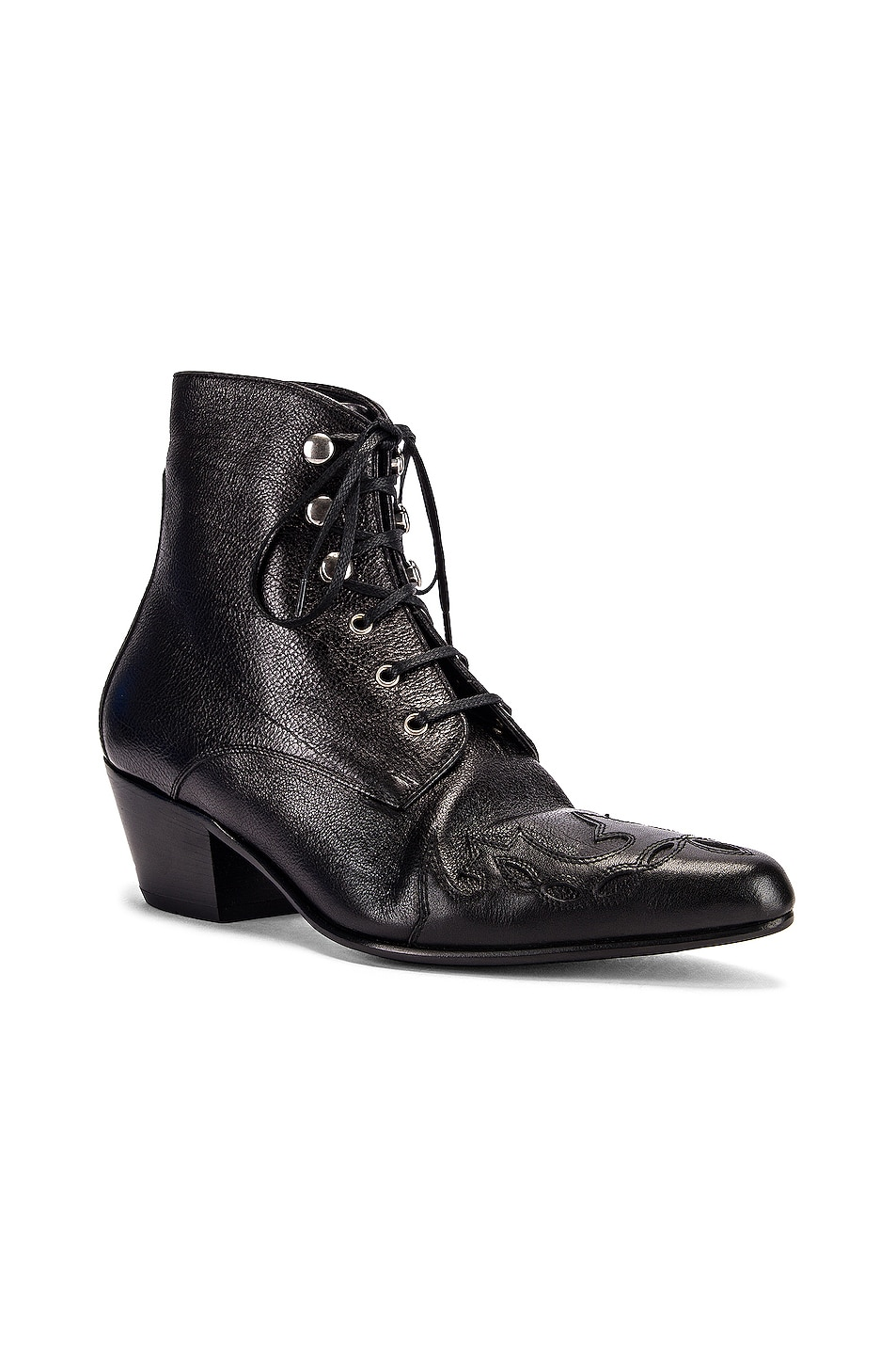 Image 2 of Saint Laurent Rebecca Lace Up Booties in Black