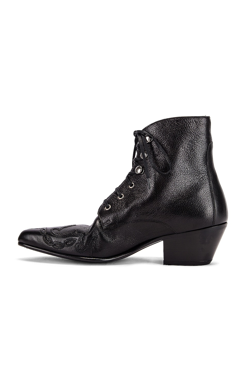 Image 5 of Saint Laurent Rebecca Lace Up Booties in Black