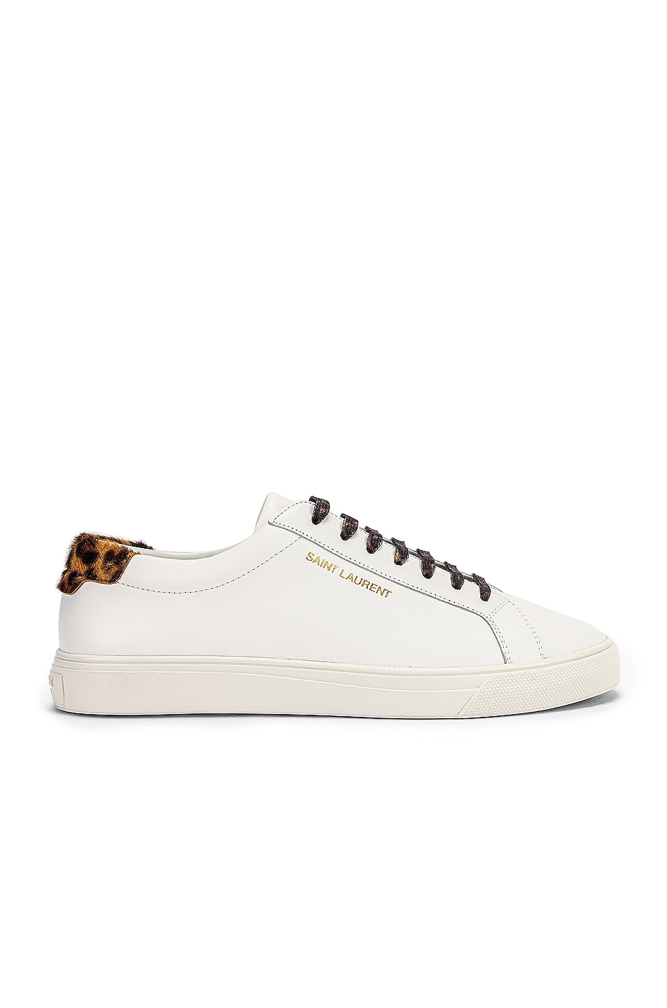 Image 1 of Saint Laurent Low Top Andy Sneakers in White & Natural