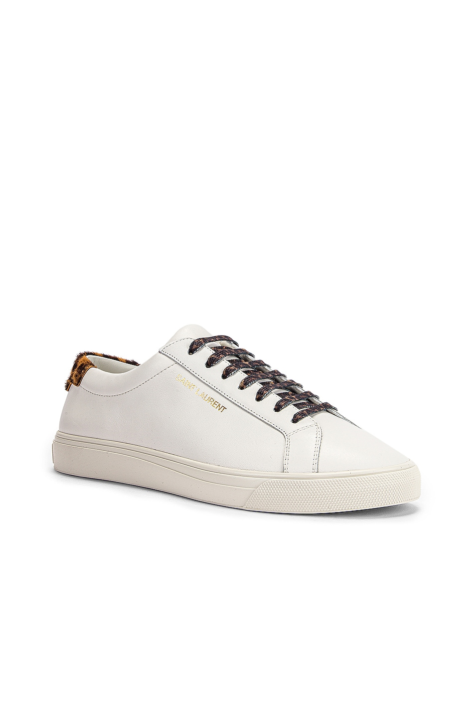 Image 2 of Saint Laurent Low Top Andy Sneakers in White & Natural