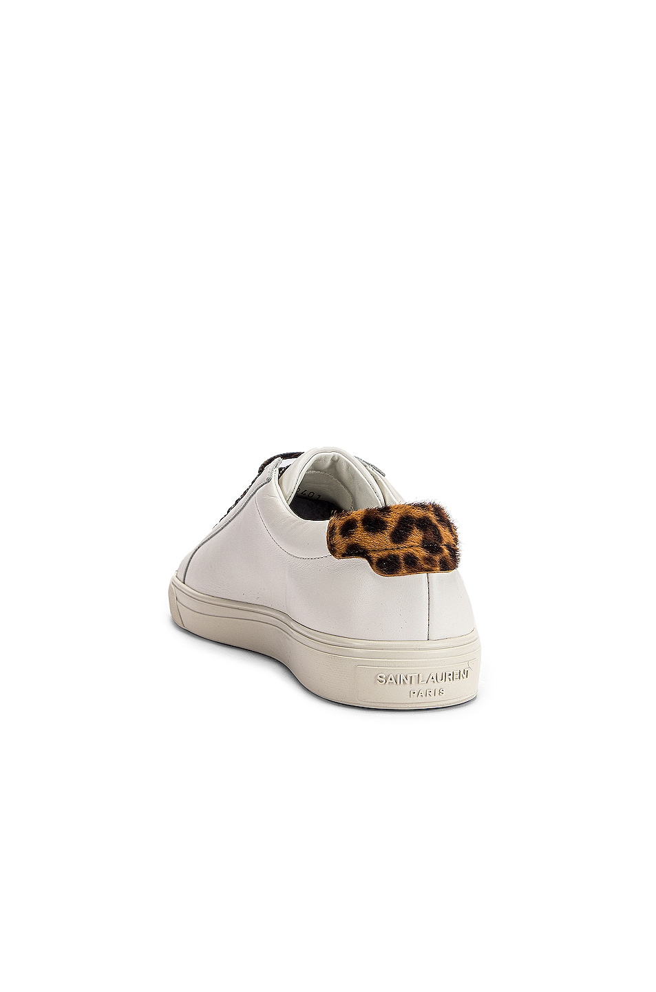 Image 3 of Saint Laurent Low Top Andy Sneakers in White & Natural