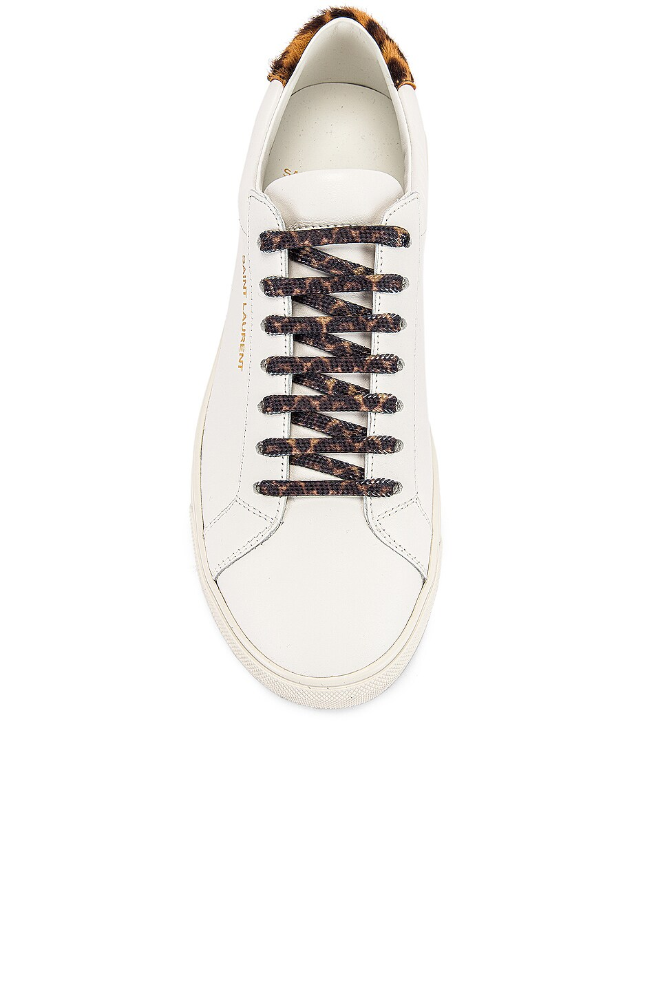 Image 4 of Saint Laurent Low Top Andy Sneakers in White & Natural