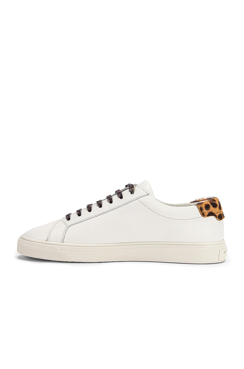 Image 5 of Saint Laurent Low Top Andy Sneakers in White & Natural