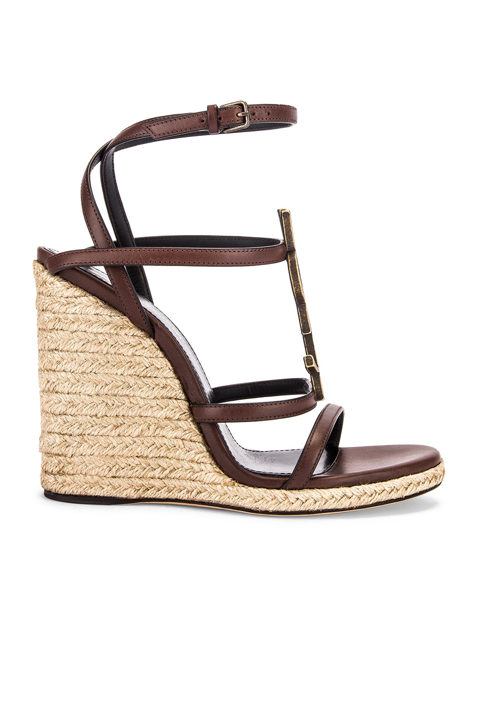 Image 2 of Saint Laurent Espadrille Wedges in Black & Gold