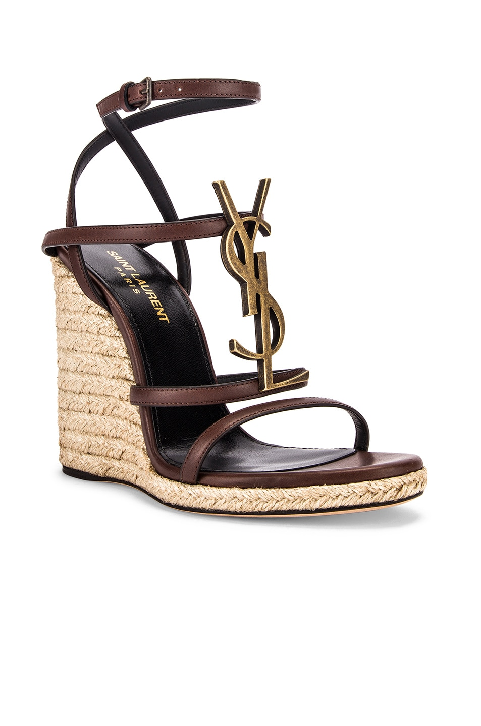 Image 3 of Saint Laurent Espadrille Wedges in Black & Gold