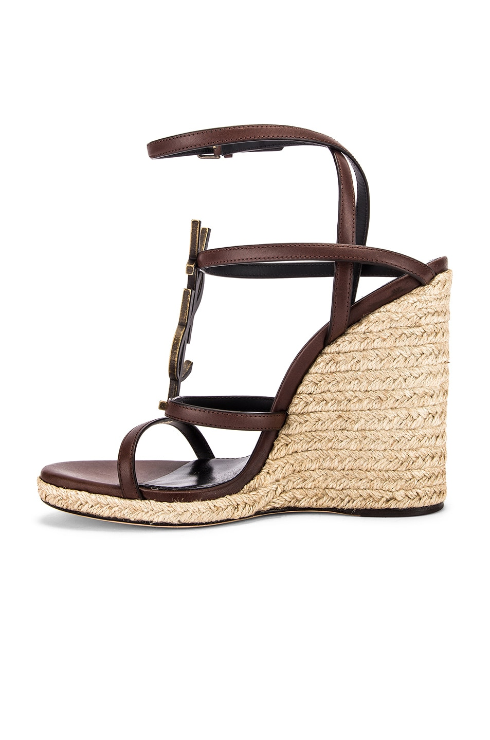 Image 5 of Saint Laurent Espadrille Wedges in Black & Gold
