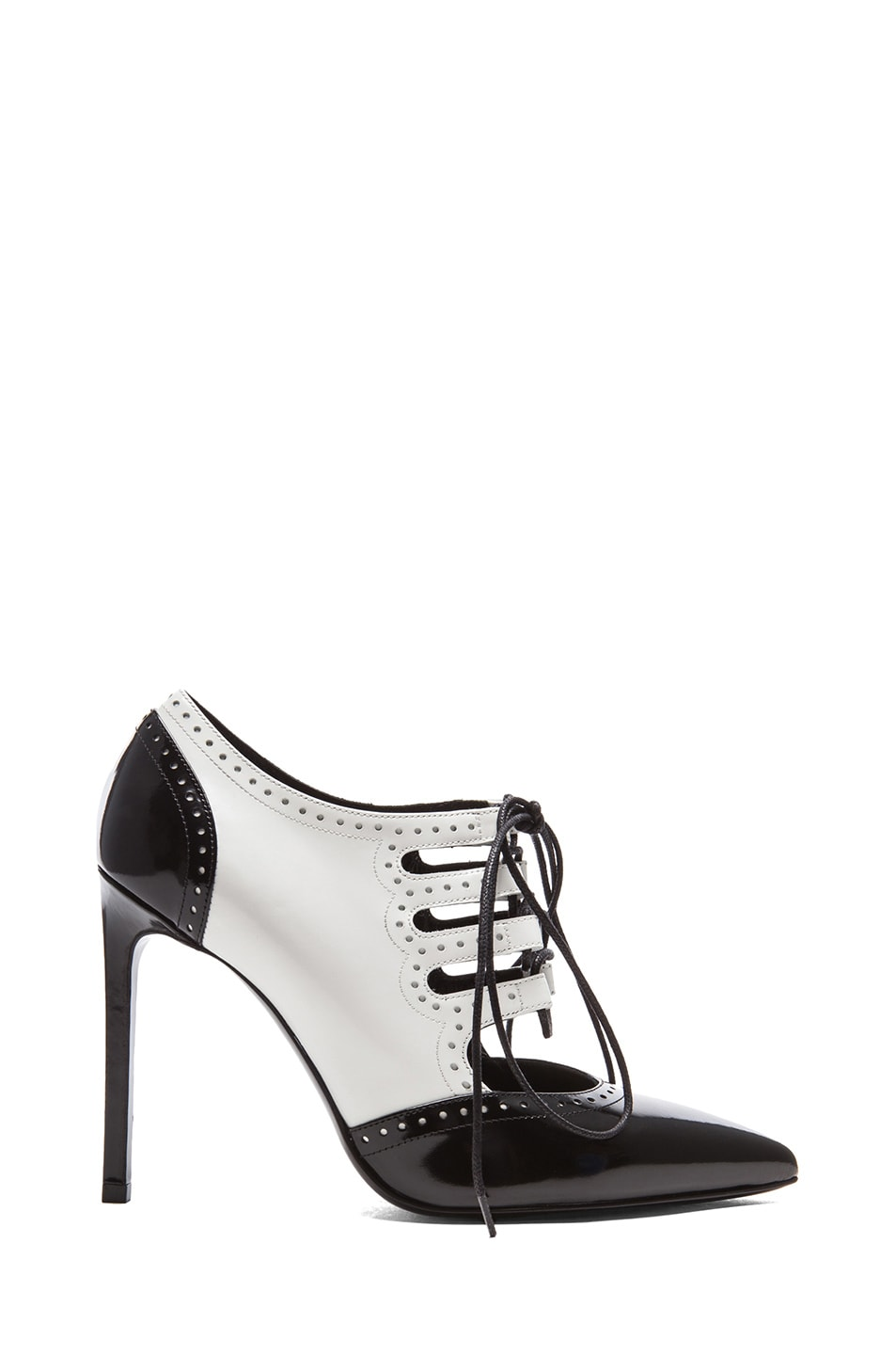 Image 1 of Saint Laurent Paris Pointy Toe Lace Up Bootie in Black & White