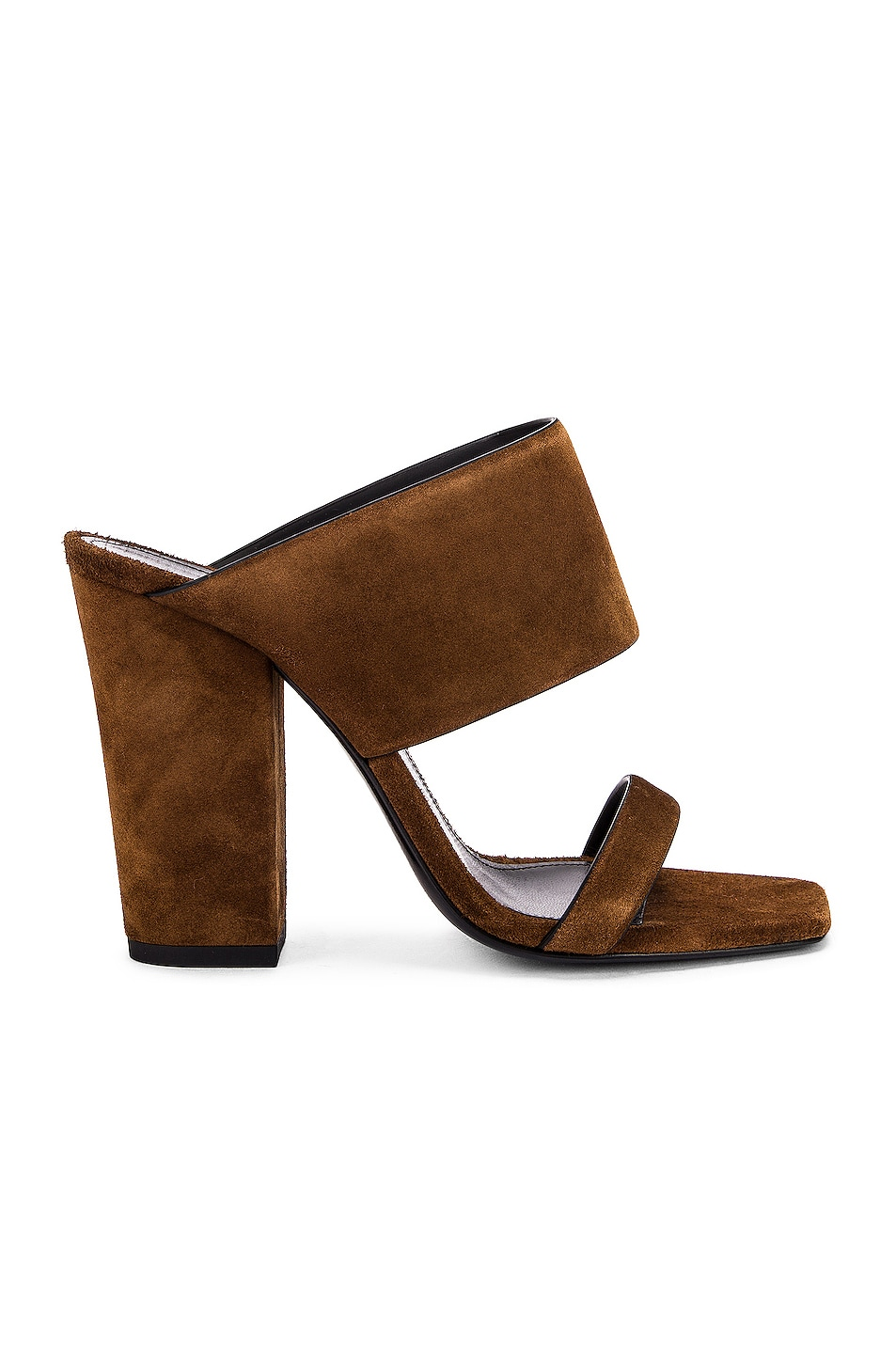 Image 1 of Saint Laurent Suede Oak Mules in Caramel