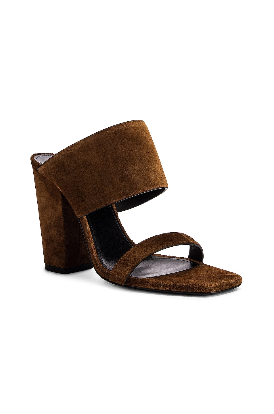Image 2 of Saint Laurent Suede Oak Mules in Caramel