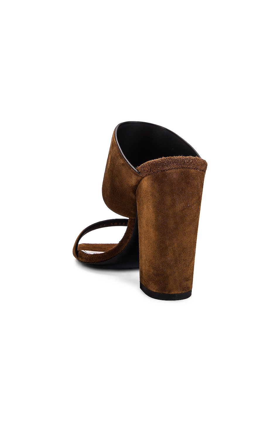 Image 3 of Saint Laurent Suede Oak Mules in Caramel