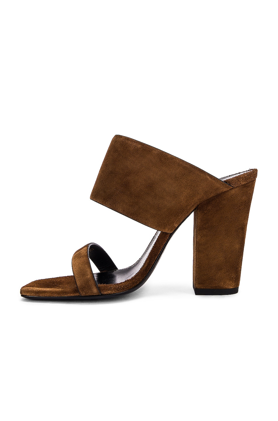 Image 5 of Saint Laurent Suede Oak Mules in Caramel