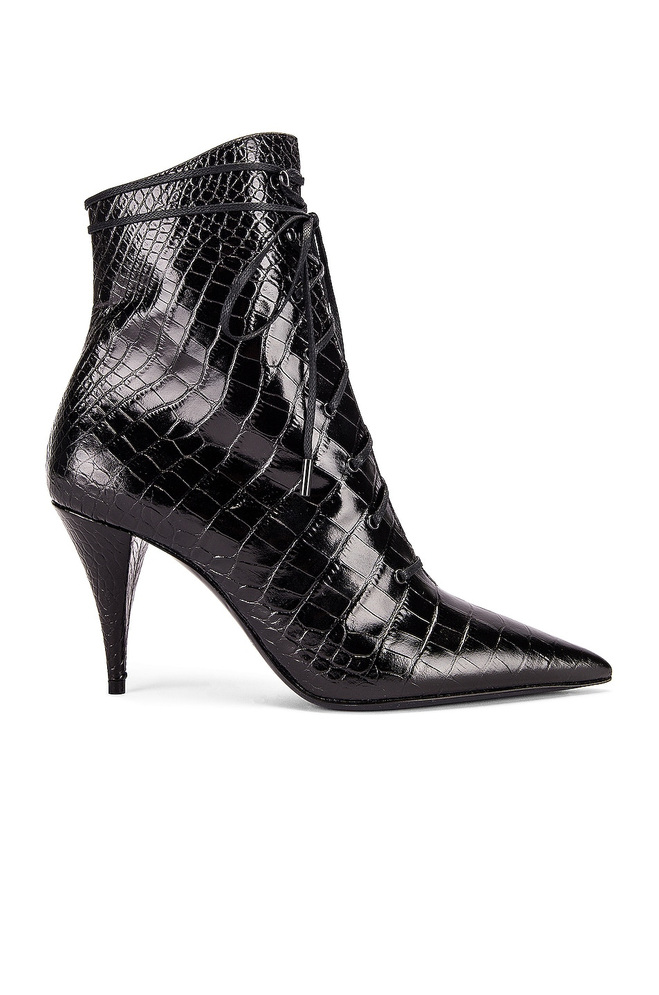 Image 1 of Saint Laurent Kiki Lace Up Booties in Black