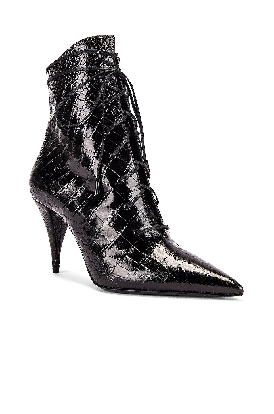 Image 2 of Saint Laurent Kiki Lace Up Booties in Black