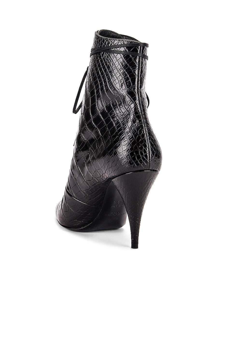 Image 3 of Saint Laurent Kiki Lace Up Booties in Black