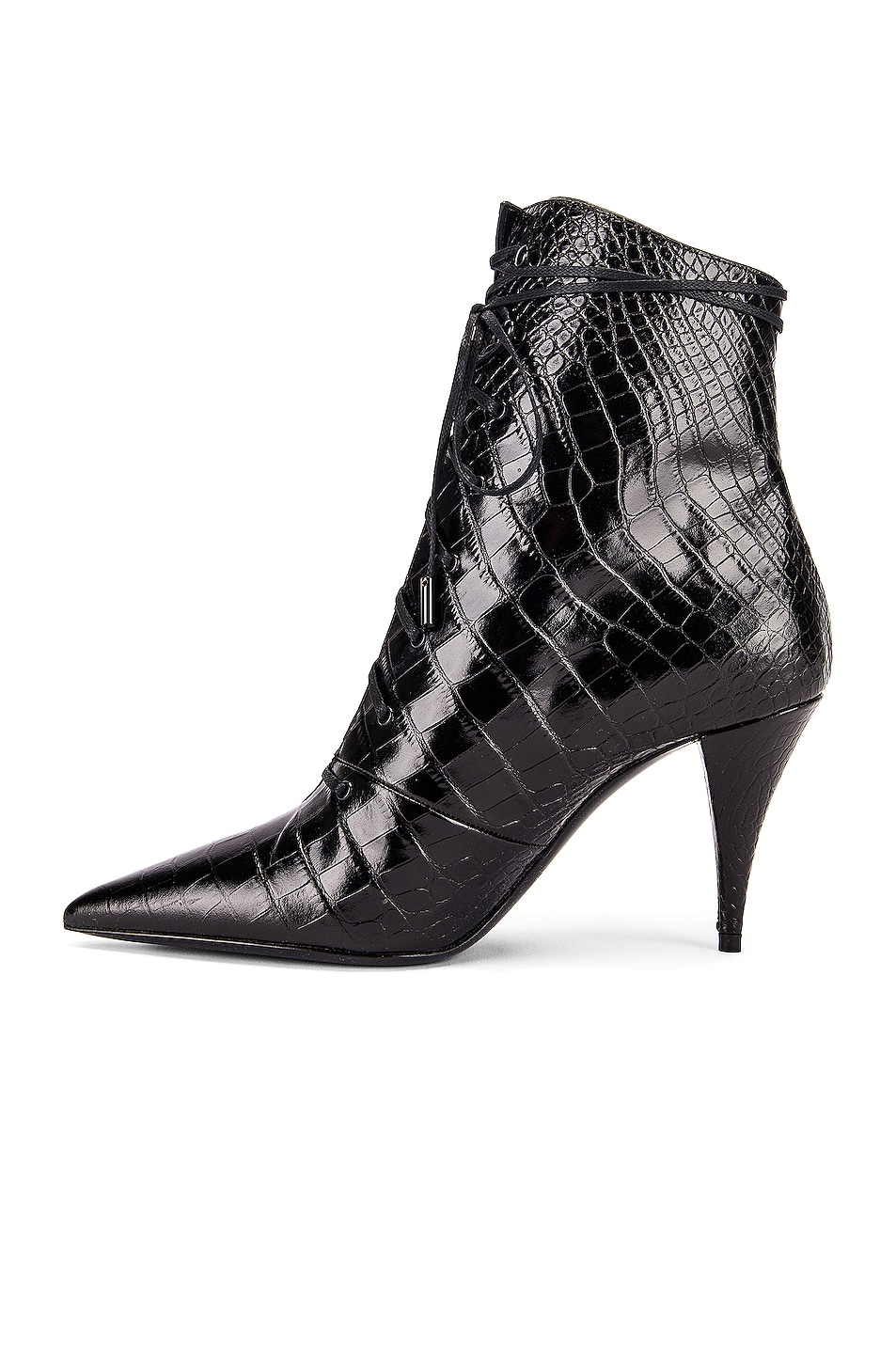 Image 5 of Saint Laurent Kiki Lace Up Booties in Black