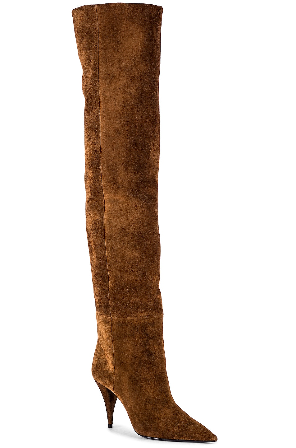 Image 2 of Saint Laurent Kiki Suede Over the Knee Boots in Land