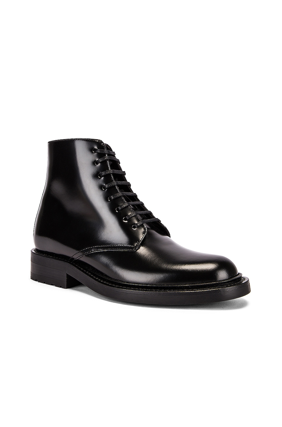 Image 2 of Saint Laurent Army Lace Up Leather Booties in Black
