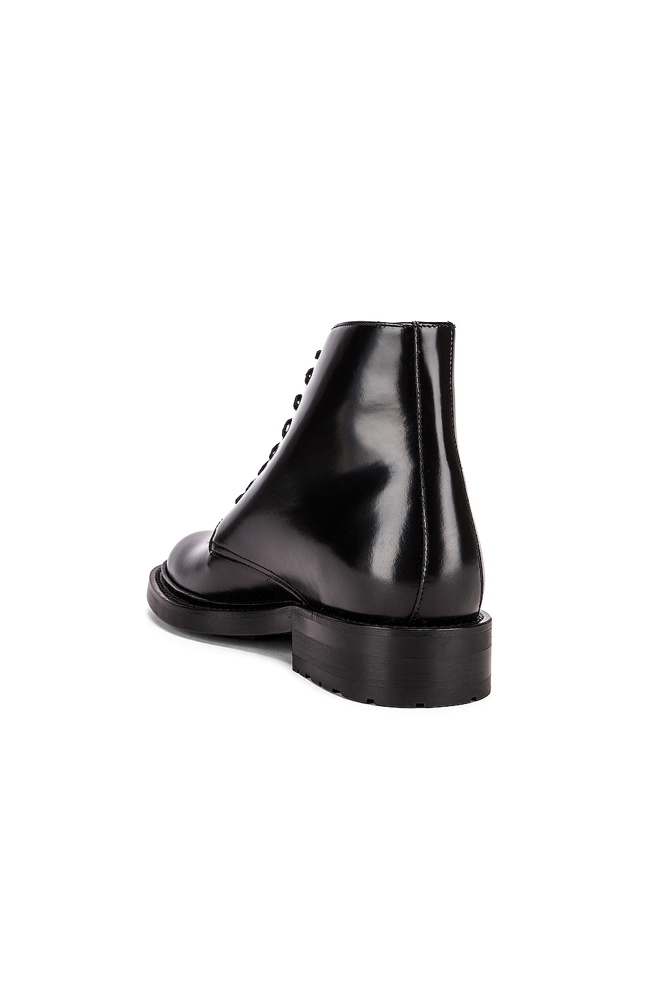 Image 3 of Saint Laurent Army Lace Up Leather Booties in Black