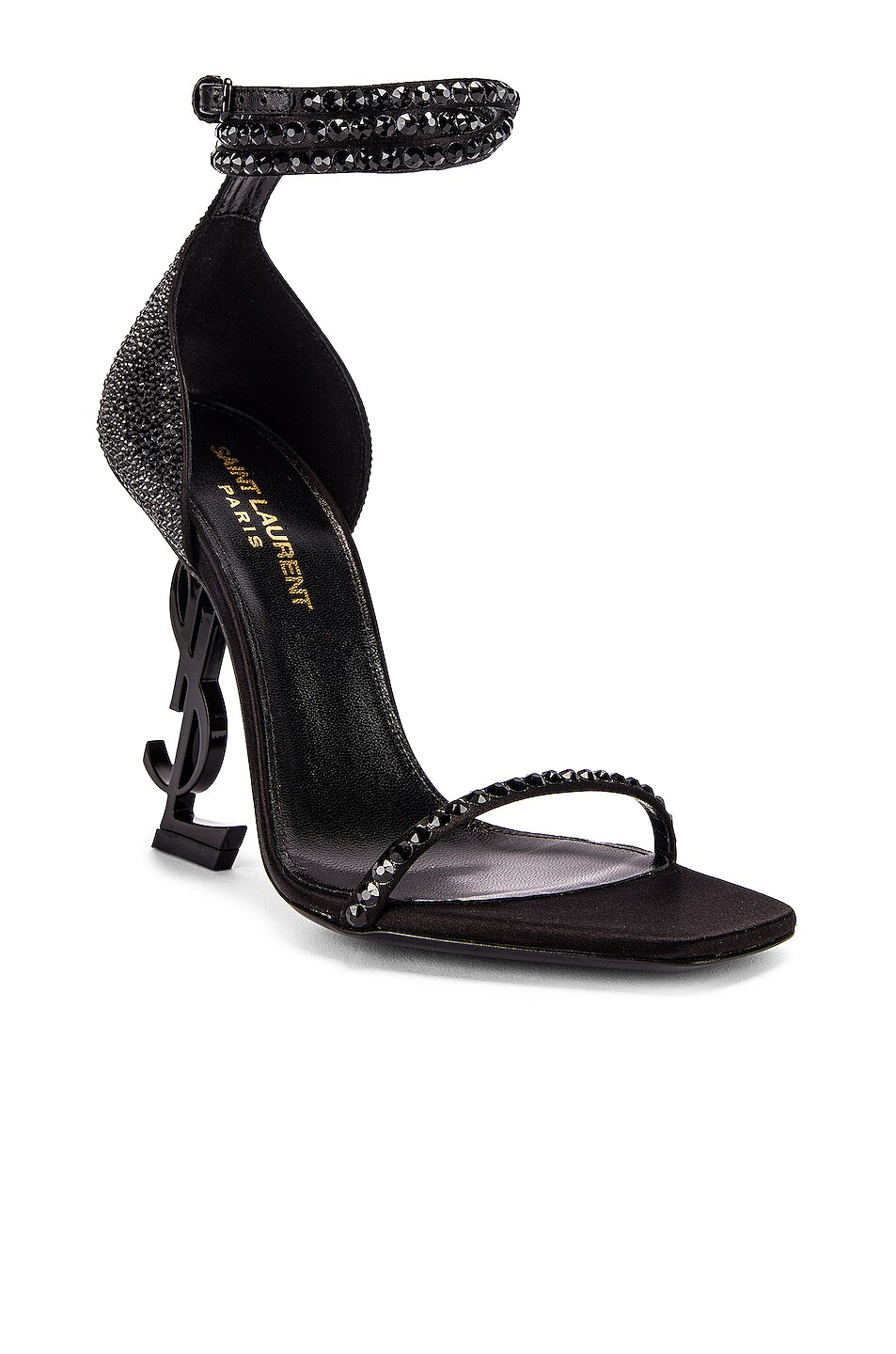 Image 2 of Saint Laurent Swarovski Opyum Double Ankle Strap Sandals in Black