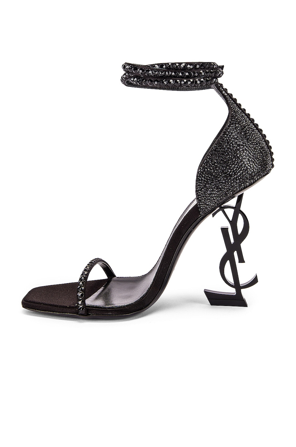 Image 5 of Saint Laurent Swarovski Opyum Double Ankle Strap Sandals in Black