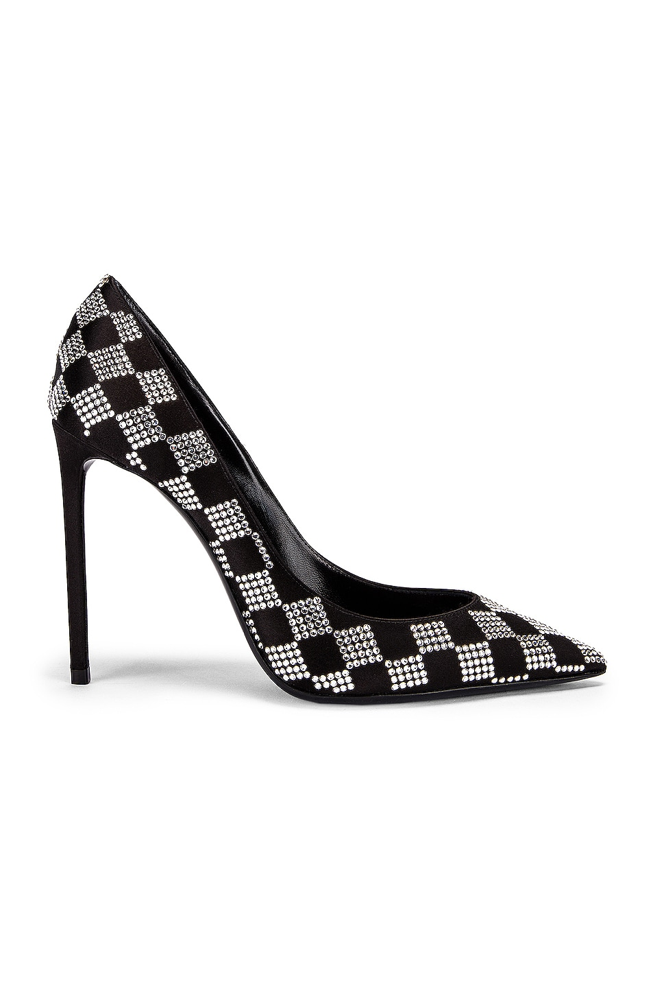 Image 1 of Saint Laurent Zoe Checkered Satin Pumps in Black