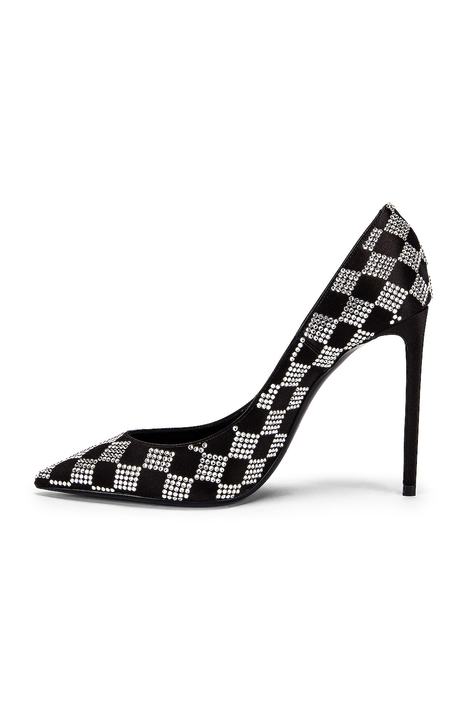 Image 5 of Saint Laurent Zoe Checkered Satin Pumps in Black