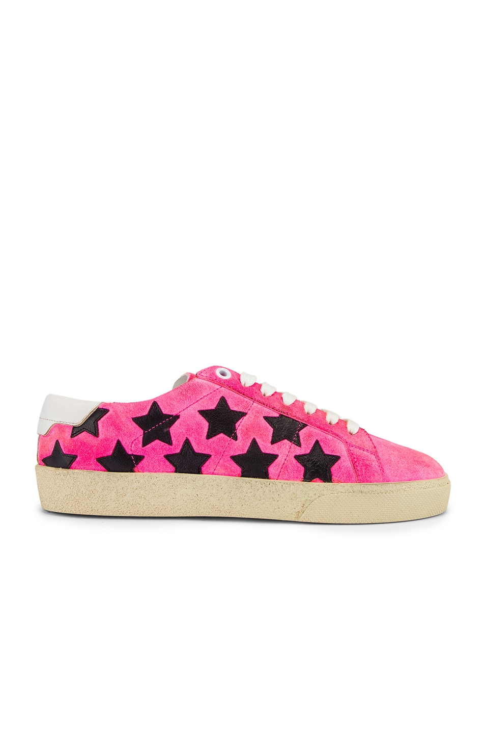 Image 1 of Saint Laurent Star Low Top Sneakers in Pink & Black
