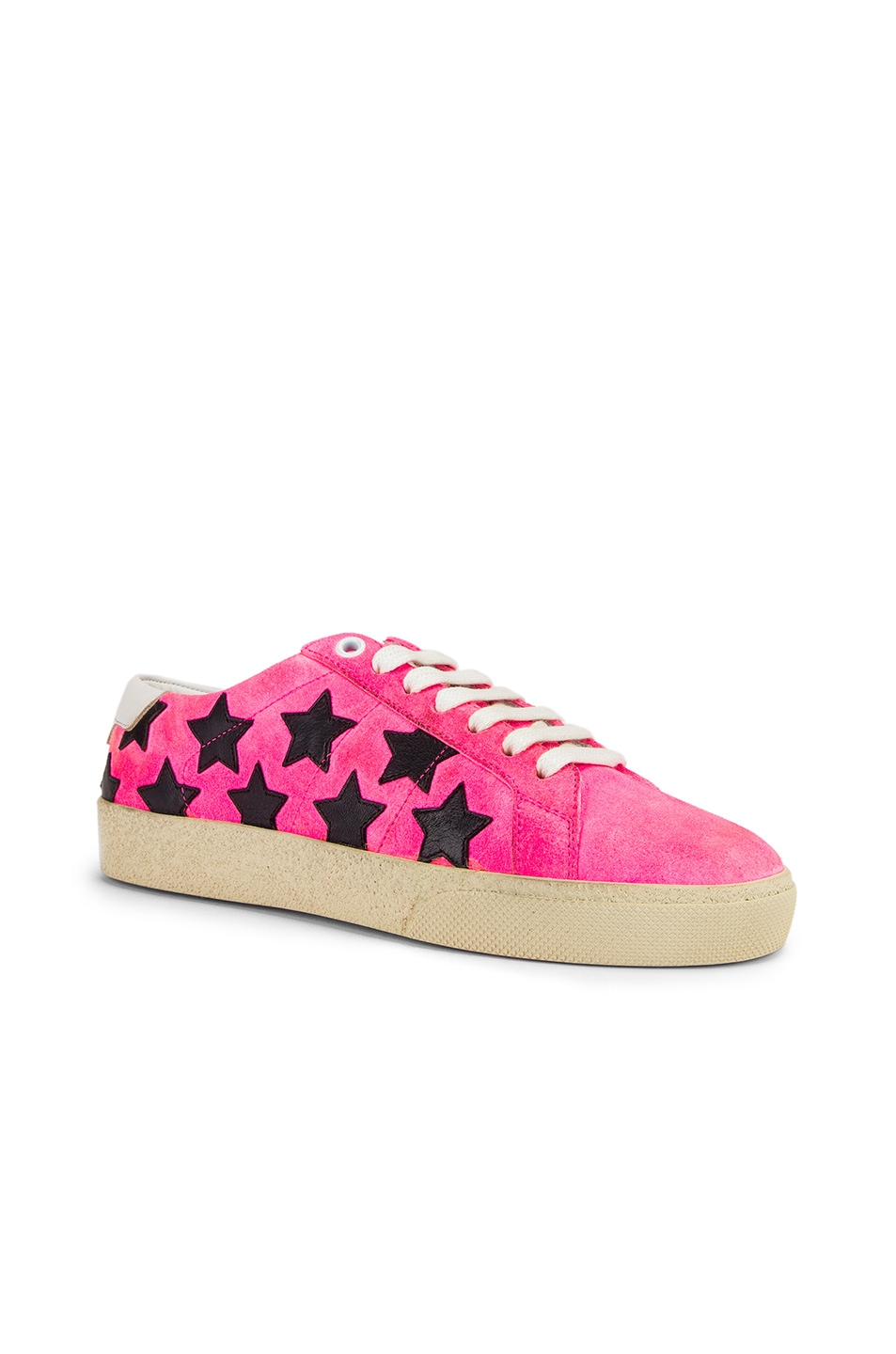 Image 2 of Saint Laurent Star Low Top Sneakers in Pink & Black