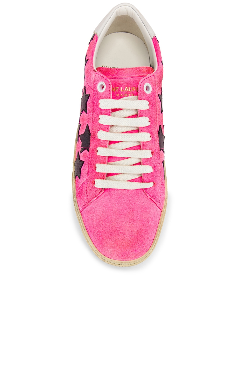 Image 4 of Saint Laurent Star Low Top Sneakers in Pink & Black