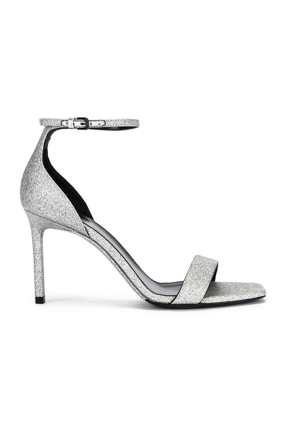 Image 1 of Saint Laurent Amber Ankle Strap Sandals in Argent