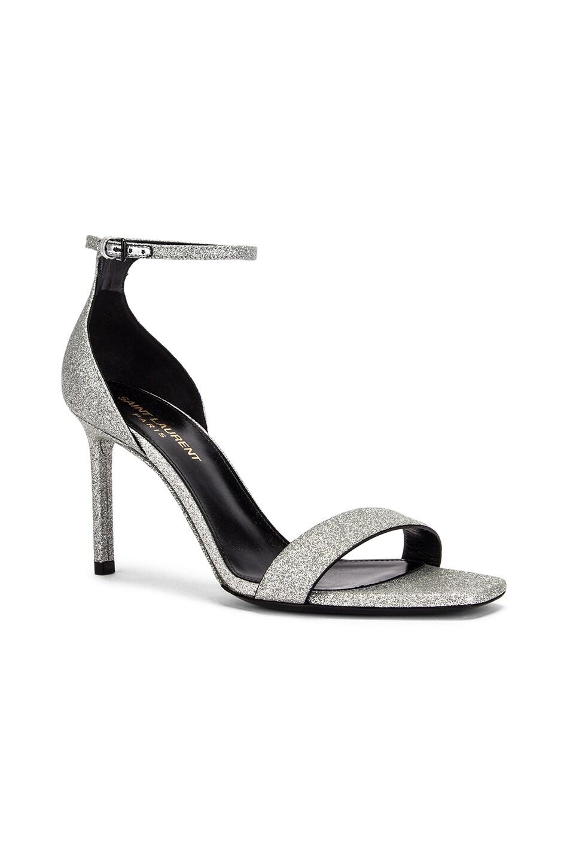 Image 2 of Saint Laurent Amber Ankle Strap Sandals in Argent