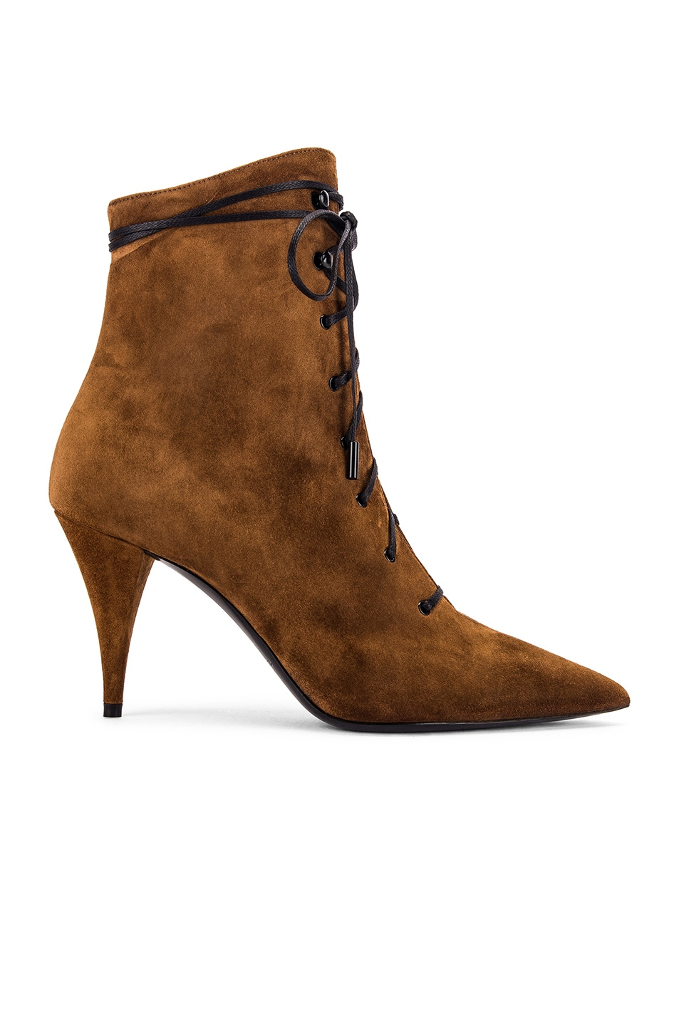 Image 1 of Saint Laurent Kiki Lace Up Ankle Booties in Land