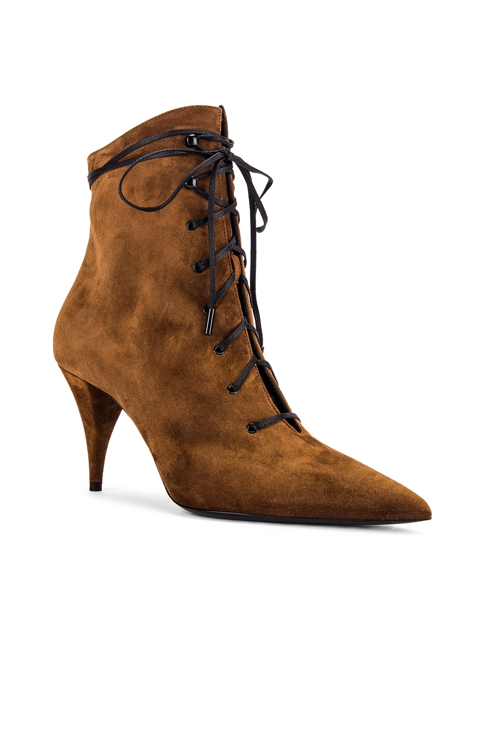 Image 2 of Saint Laurent Kiki Lace Up Ankle Booties in Land