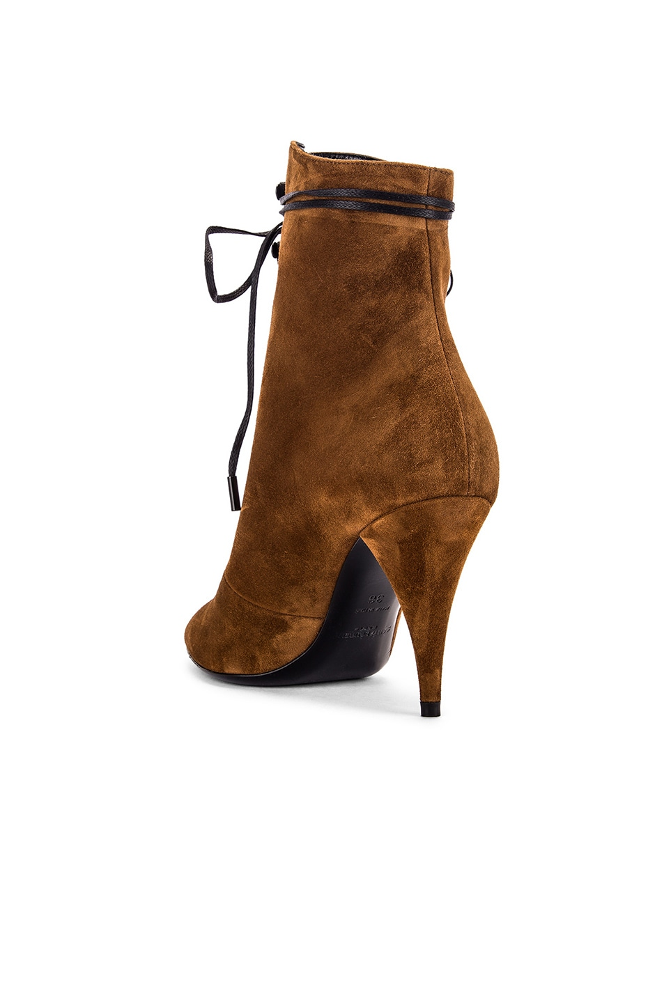 Image 3 of Saint Laurent Kiki Lace Up Ankle Booties in Land
