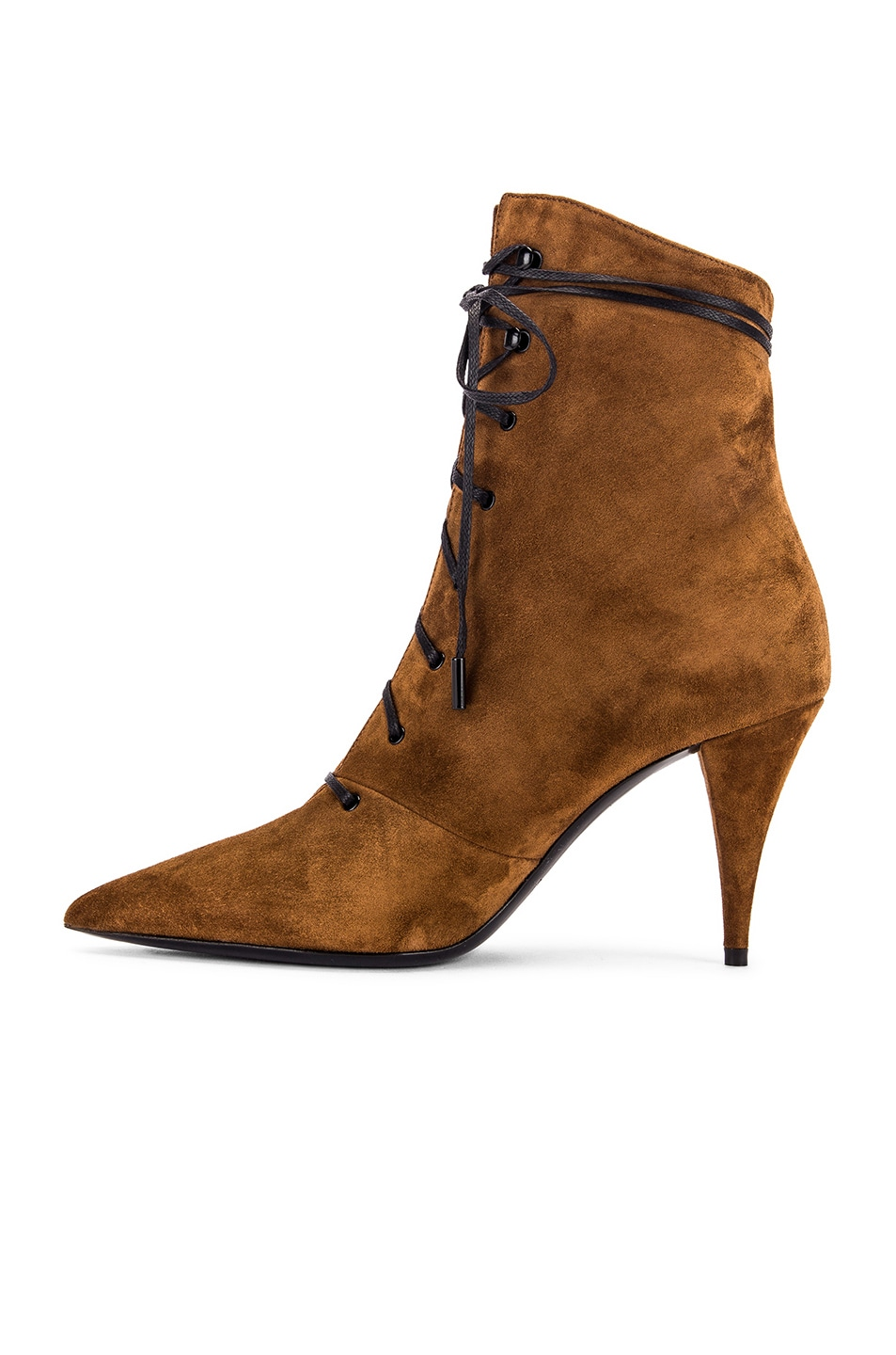 Image 5 of Saint Laurent Kiki Lace Up Ankle Booties in Land
