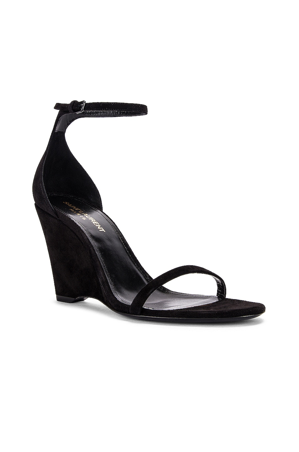 Image 2 of Saint Laurent Lila Wedge Sandals in Black