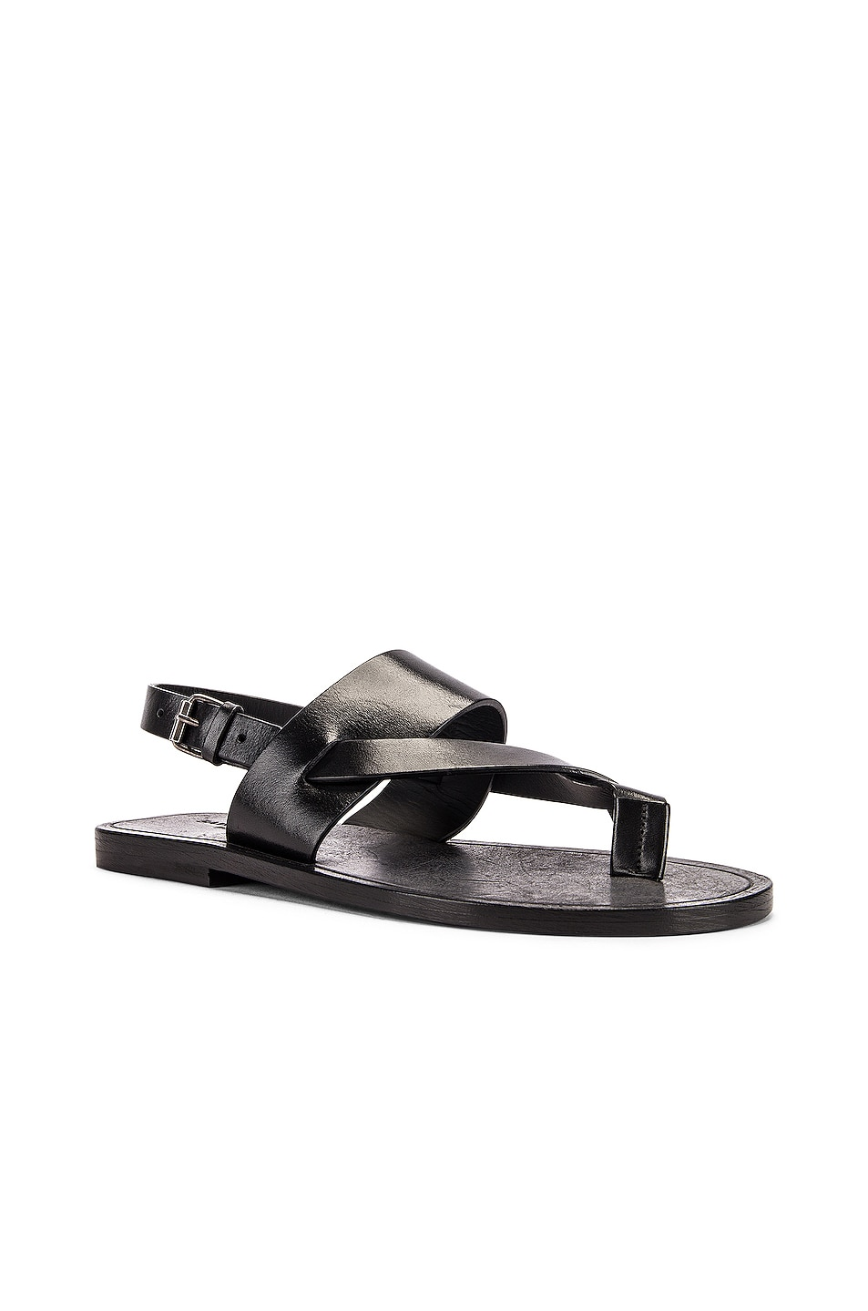 Image 2 of Saint Laurent Culver Buckle Sandals in Black