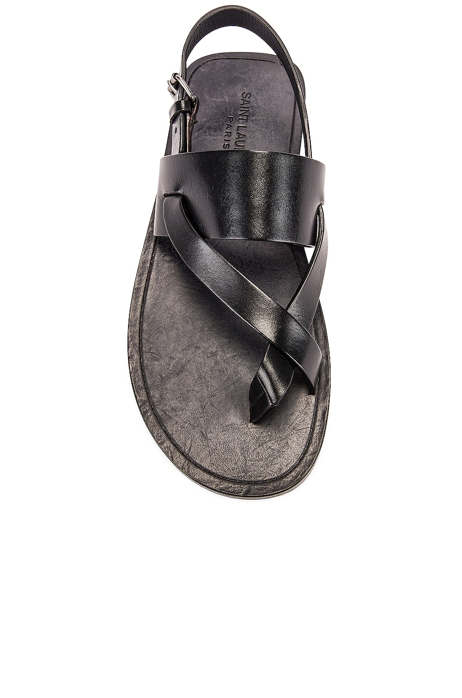 Image 4 of Saint Laurent Culver Buckle Sandals in Black