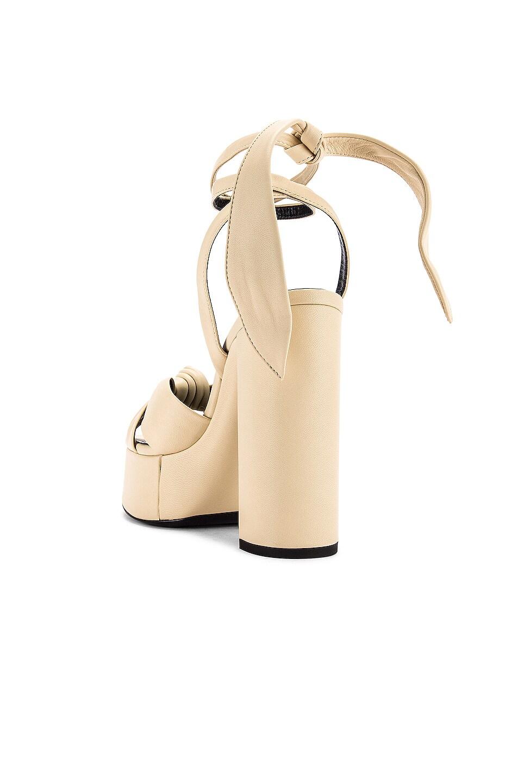 Image 3 of Saint Laurent Bianca Platform Sandals in Light Cream