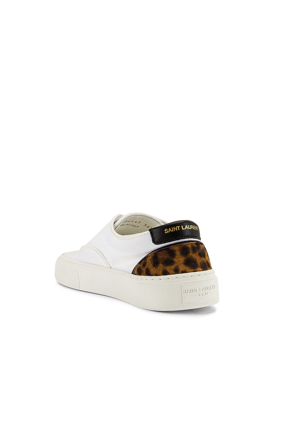 Image 3 of Saint Laurent Venice Low Top Sneakers in White & Manto Naturale