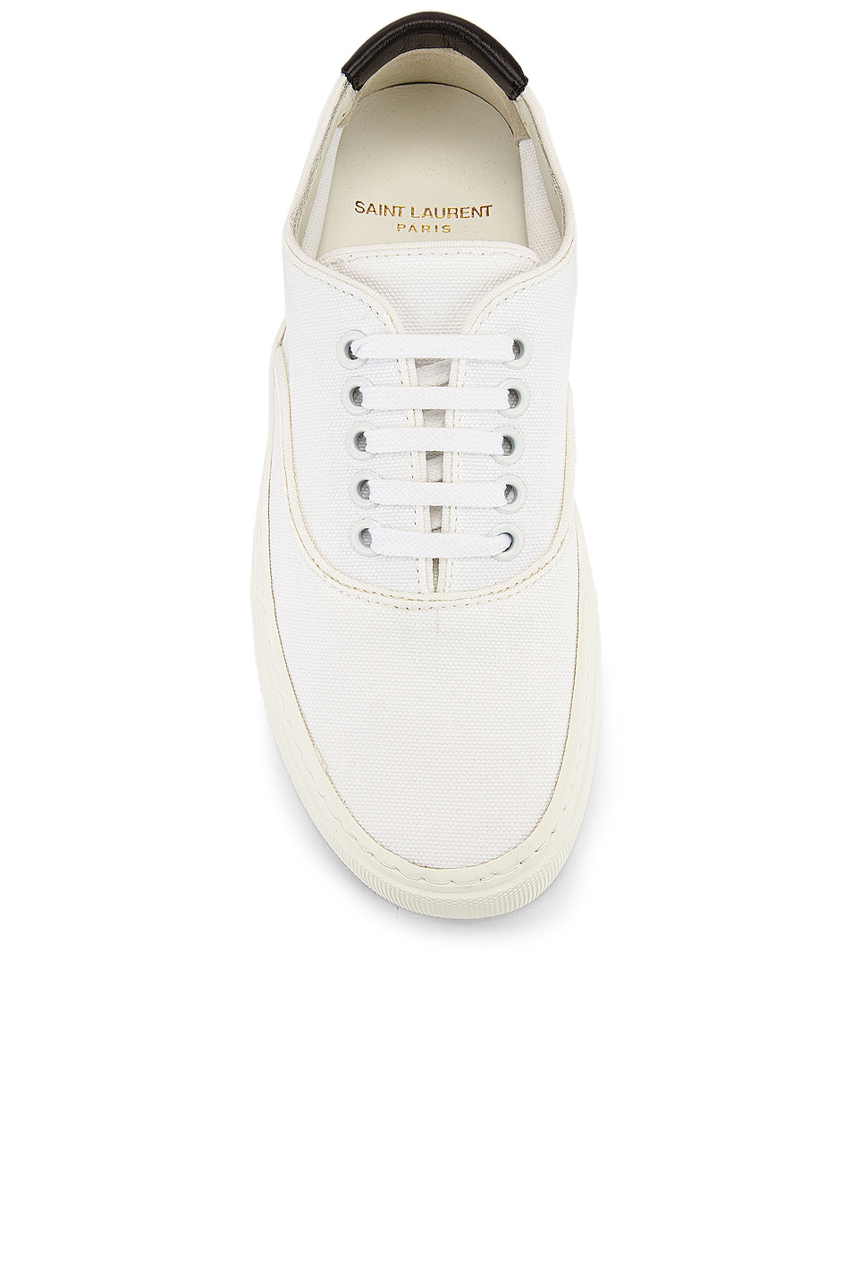 Image 4 of Saint Laurent Venice Low Top Sneakers in White & Manto Naturale