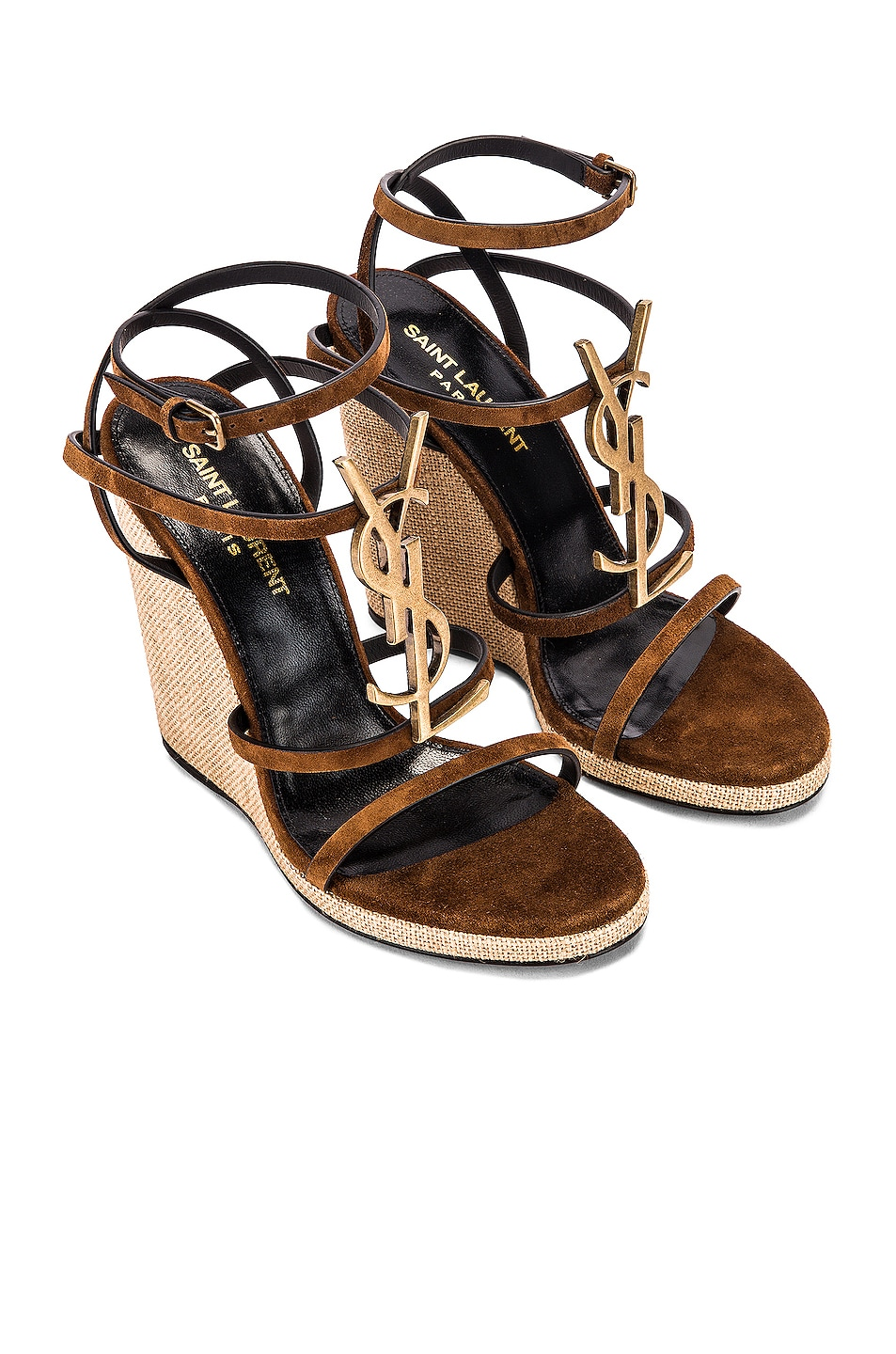 Image 1 of Saint Laurent Cassandra Wedges in Land