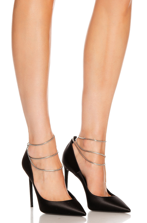 Image 2 of Saint Laurent Zoe Ankle Chain Heels in Black